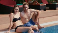 10of27 Young people relaxing in hotel swimming pool, gym, bar Stock Footage