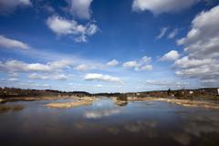 spring floods in small river - stock photo