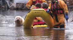 Belleville Ontario spring flood rescue Stock Footage