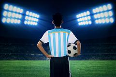 Argentine player holding a soccer ball Stock Photos