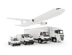 Cargo plane, truck, lorry and a delivery cars Stock Illustration