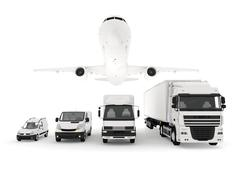 cargo plane, truck, lorry and delivery cars - stock illustration