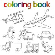 Set of various toys for coloring book Stock Illustration