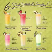 Fresh fruit cocktails & smoothies Stock Illustration