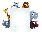 Stock Illustration of animals cartoon with white board