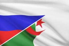 Flag of russia and algeria blowing in the wind. part of a series. Stock Illustration