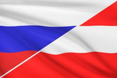 flag of russia and austria blowing in the wind. part of a series. - stock illustration