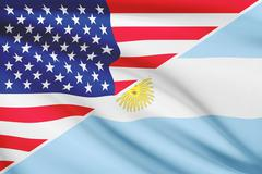 Flags of usa and argentina blowing in the wind. part of a series. Stock Illustration