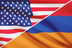 Flags of usa and armenia blowing in the wind. part of a series. Stock Illustration