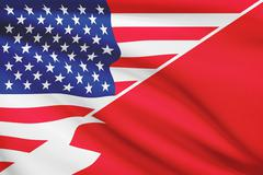 Flags of usa and bahrain blowing in the wind. part of a series. Stock Illustration
