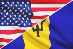 flags of usa and barbados blowing in the wind. part of a series. - stock illustration