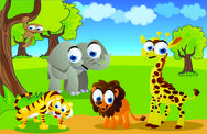Stock Illustration of safari animals in the zoo