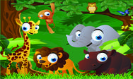 Stock Illustration of animals cartoon in the zoo