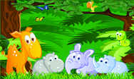 Stock Illustration of Baby animals cartoon in the jungle