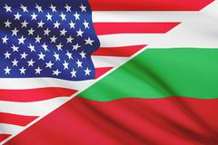flags of usa and bulgaria blowing in the wind. part of a series. - stock illustration