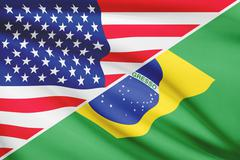 Flags of usa and brazil blowing in the wind. part of a series. Stock Illustration