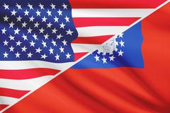 flags of usa and republic of the union of myanmar blowing in the wind. part o - stock illustration