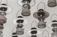 Vintage petrol lamp hanging on ceiling. Stock Photos