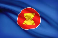 Association of southeast asian nations (asean) flag blowing in the wind. part Stock Illustration