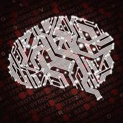 illustration of human brain in form of circuit board on red background - stock illustration
