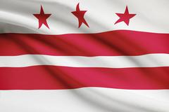 Stock Illustration of district of columbia flag blowing in the wind. part of a series.