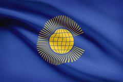 commonwealth of nations flag blowing in the wind. part of a series. - stock illustration