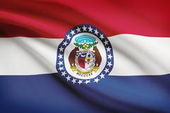state of missouri flag blowing in the wind. part of a series. - stock illustration