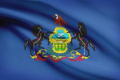 commonwealth of pennsylvania flag blowing in the wind. part of a series. - stock illustration