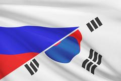 flags of russia and south korea blowing in the wind. part of a series. - stock illustration