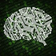 Illustration of human brain in form of circuit board on green background Stock Photos