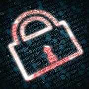 illustration of lock symbolizing security concept on red background with numb - stock photo