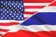 Stock Illustration of flags of usa and thailand blowing in the wind. part of a series.