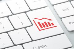 Stock Illustration of News concept: Decline Graph on computer keyboard background