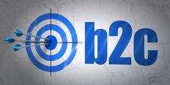 Business concept: target and B2c on wall background - stock illustration
