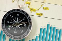 Economic growth charts and compass Stock Photos