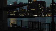 Boston Harbor at Night Soft Focus Stock Footage