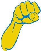 angry fist, elbow - stock illustration