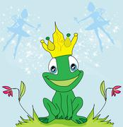 Little fairies and frog Stock Illustration