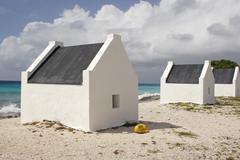 slave huts, bonaire, abc islands - stock photo
