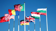 Stock Video Footage of Flags of the countries of the world against the blue sky