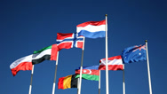 Stock Video Footage of Flags of the countries of the world wave on a wind