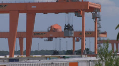RAILROAD CONTAINER FREIGHT YARD GANTRY CRANE Stock Footage