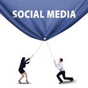 Teamwork pulling social media banner Stock Photos