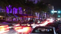 Ocean Drive Miami Timelpase 4K Stock Footage