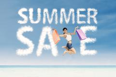 Woman and summer sale clouds Stock Illustration