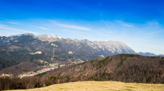 Timelapsed scenery with mountain peaks and cloudy sky Stock Footage