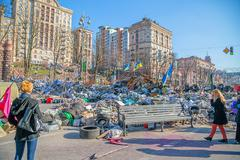 Euromaidan revolution in Kiev Stock Photos