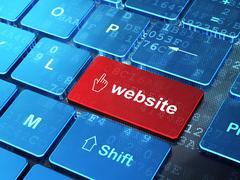 Web design concept: Mouse Cursor and Website on computer keyboard background Stock Illustration