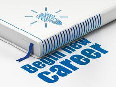 Stock Illustration of Finance concept: book Energy Saving Lamp, Begin New Career on white background