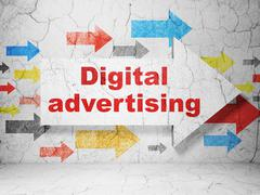 Advertising concept: arrow with Digital Advertising on grunge wall background - stock illustration